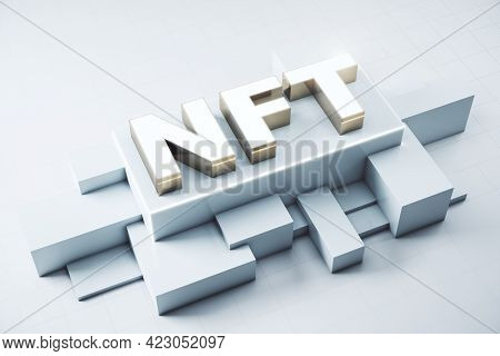 Nft Nonfungible Tokens Concept - Nft Word In White Frame On Abstract Technology Background. 3d Rende