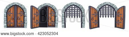 Castle Gate Vector Medieval Collection, Open Wooden Ancient Door, Iron Grate, Stone Arch Isolated On