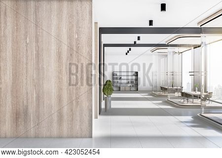 Modern Corporate Office Interior With Empty Place On Concrete Wooden Wall, Furniture And Daylight. M