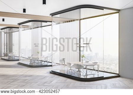 Light Conference Office Room Interior With Glass Partitions, Window With City View And Daylight. 3d