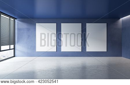 Modern Concrete Interior With Window, City View, Sunlight And Empty Posters Mockup Place. Exhibition