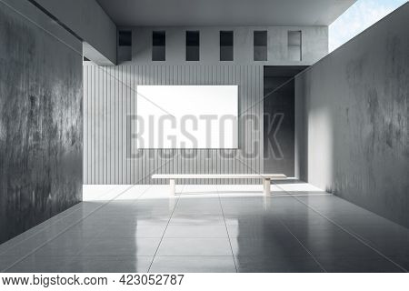Grey Concrete Interior With Sunlight And Empty Banner Mockup Place. Exhibition, Art And Advertisemen