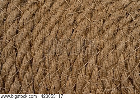 Wicker Straw Napkin Brown As Background, Wicker Background For Design, Macro View In High Quality Re
