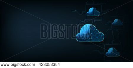 Cloud Computing Concept.cloud Storage With Data Protected Exchange  Cloud Computing, Big Data Center