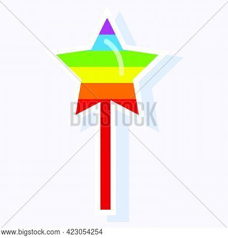 Rainbow Star Sticker On A Stick.
