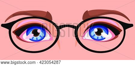 Women's Eyes With Glasses