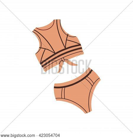 Sports Swimsuit-two-piece. Vector Flat Illustration. Bathing Clothes