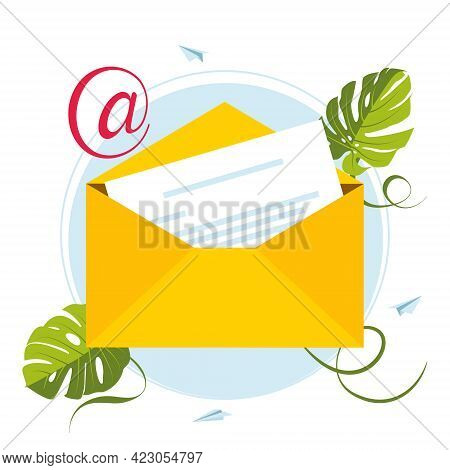 E-mail Marketing. Mailbox And Envelopes Surrounded With Notification By Icons. Email Concept Represe