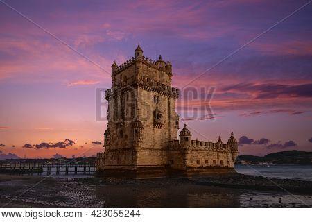 Belem Tower In Belem District Of Lisbon In Portugal At Dusk