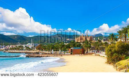 Panoramic View Of Palma De Majorca, Mallorca Balearic Islands, Mediterranean Sea. Spain