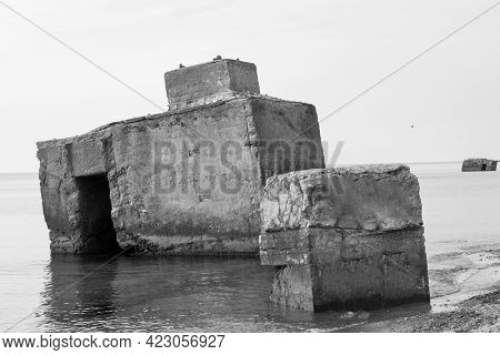 Coast Bunker. Coast Bunker From The Ww2 In The Baltic Sea Fischland Darss Zingst, Germany.