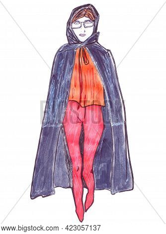 Fashion Catwalk Hand-drawn Marker Poster. Woman In A Black Trench Coat, High Heels, And Tight Pants