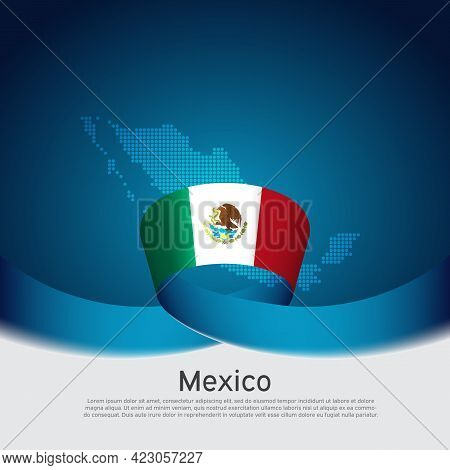 Mexico Flag, Mosaic Map On Blue White Background. Vector Banner Design. Mexico National Poster. Cove