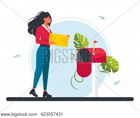 Woman Carries A Letter In The Mailbox. Email Concept Illustration, Subscribe To Newsletters, Email M