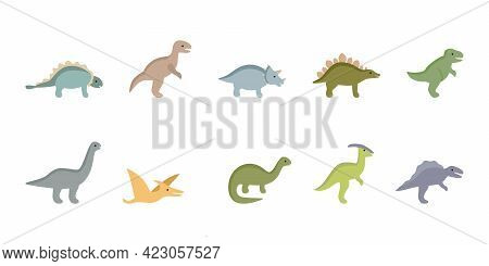 Set Of Jurassic Ancient Dinosaurs, Prehistoric Dino Animals. Collection Of Dragons For Children. Vec
