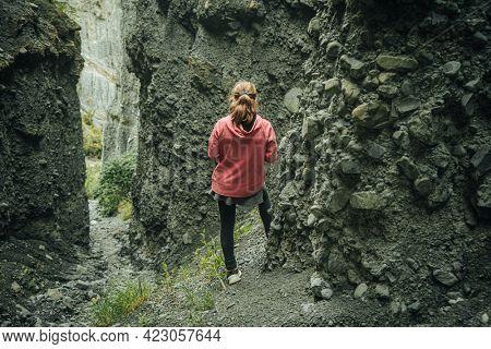 young girl on hiking trek