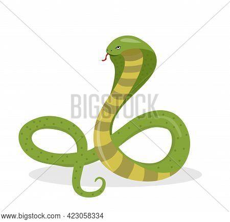 King Cobra Flat Cartoon Style. Snake Isolated On White Background, Logo Element. Vector Illustration