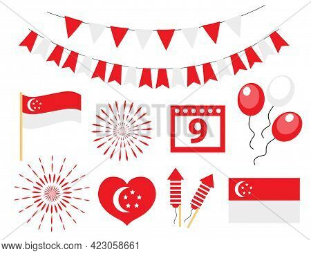 Singapore Independence Day, National Holiday Icons Set. Vector Illustration.