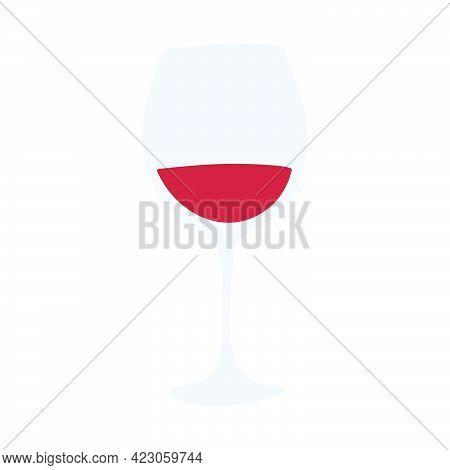 Red Wine Glass. Hand Drawn Cartoon Illustration. Romantic Alcoholic Drink. Doodle Shape Art Graphic