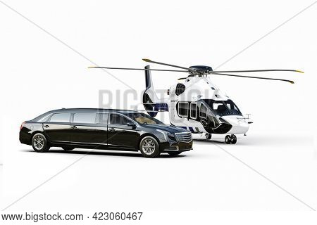 3d render of luxury limousine and private helicopter in white background