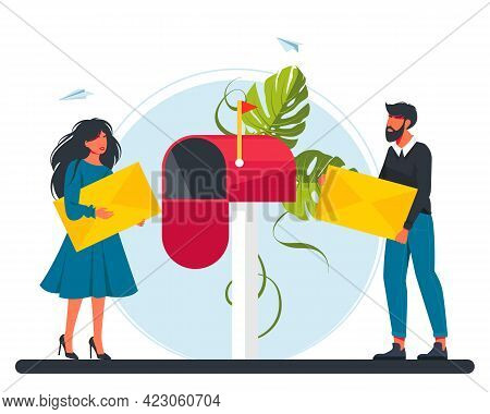 Man And Woman Carries A Letter In The Mailbox. Email Concept Illustration, Subscribe To Newsletters,