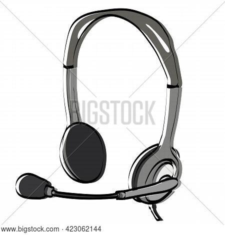Online Support Service. Headphones With Microphone. Customer Consultation Icon For Ecommerce Or Elea