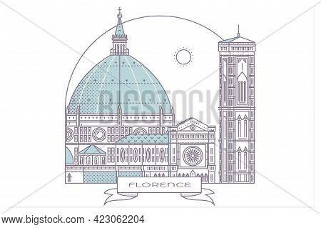 Italy, Florence Architecture Line Skyline Illustration. Linear Vector Cityscape With Famous Landmark