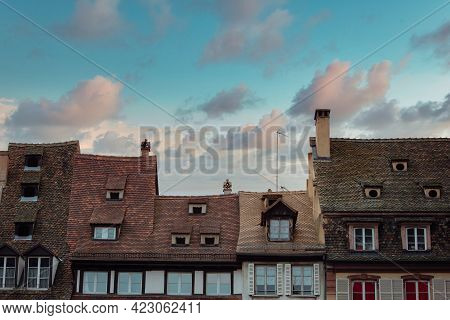 Strasbourg Roof Tops In Medieval City Center