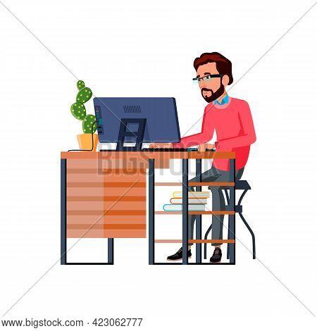 Man Artist Drawing Image On Computer At Home Cartoon Vector. Man Artist Drawing Image On Computer At