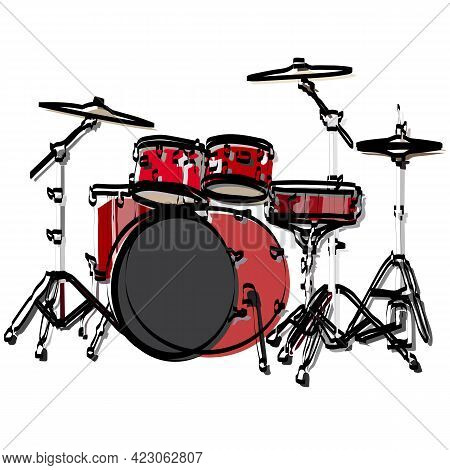 Vector Hand-drawn Illustration Of A Drum Kit. Isolated On White. Drum, Doodle Style. Hand Drawing.