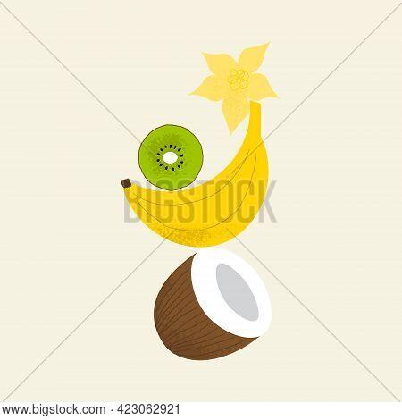 Tropical Fruit Balance Composition. Coconut, Banana, Kiwi, Star Fruit.