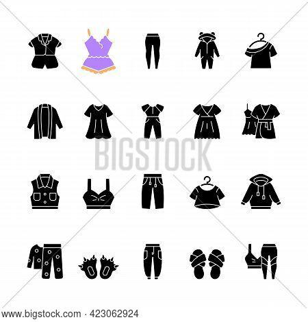 Comfortable Homewear And Sleepwear Black Glyph Icons Set On White Space. Female Nightwear. Male Spor