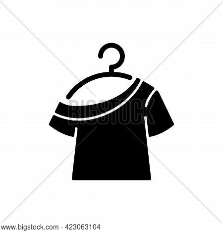 One Shoulder T Shirt Black Glyph Icon. Trendy Comfy Outfit For Women. Female Garment For Lounging. C