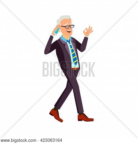 Happy Old Man Talking With Wife On Phone And Walking In Garden Cartoon Vector. Happy Old Man Talking