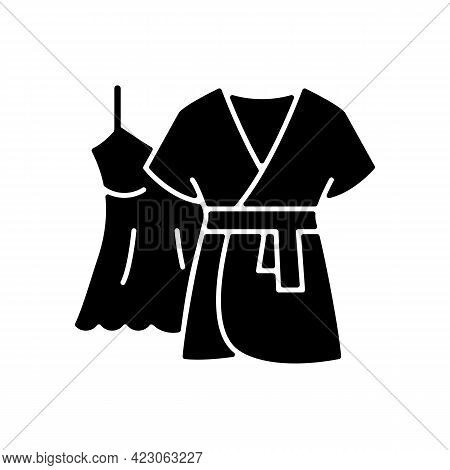 Mini Gown With Robe Black Glyph Icon. Female Sleepwear. Women Nightwear. Ladies Lace Dress For Sleep