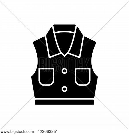 Denim Vest Black Glyph Icon. Jacket With Pockets. Unisex Shirt. Sleeveless Top. Fashionable Outfit.