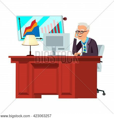Old Man Ceo Speaking On Phone And Checking Financial Report On Computer Cartoon Vector. Old Man Ceo