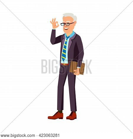 Senior Man Gesturing Ok And Approving Solution Of Employee Cartoon Vector. Senior Man Gesturing Ok A