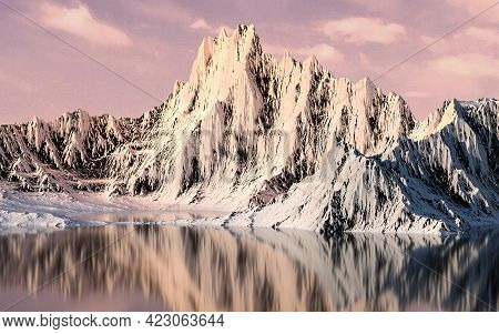 Snowy Mountains With Sunset Background, 3D Rendering.