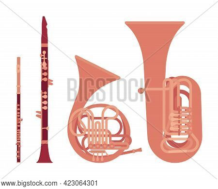 Classic Wind Musical Instrument, Brass Woodwind Set. French Horn, Tuba, Clarinet, Flute For Band, Or
