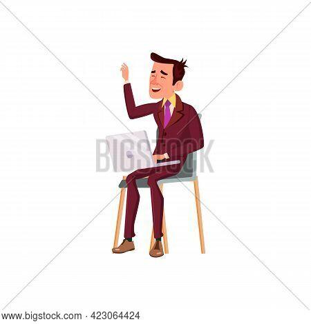 Elegant Man Relaxing In Cyberspace Cartoon Vector. Elegant Man Relaxing In Cyberspace Character. Iso
