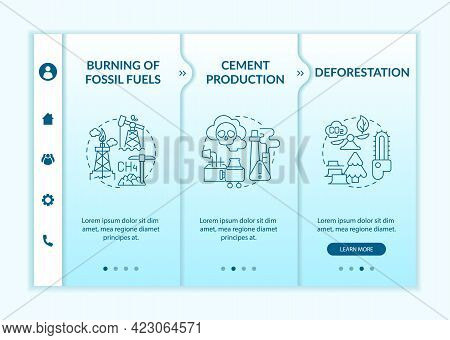 Anthropogenic Carbon Emissions Onboarding Vector Template. Responsive Mobile Website With Icons. Web