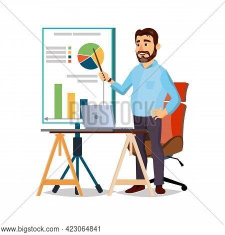 University Professor Explain Financial Diagram On Lecture Cartoon Vector. University Professor Expla