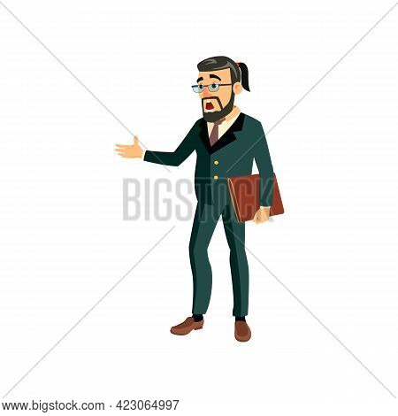 Disappointed Man Fired From Company Position Cartoon Vector. Disappointed Man Fired From Company Pos