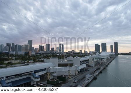 The View Of Empty Cruise Ship Terminals And Miami Downtown Skyline After The Sunset (florida).