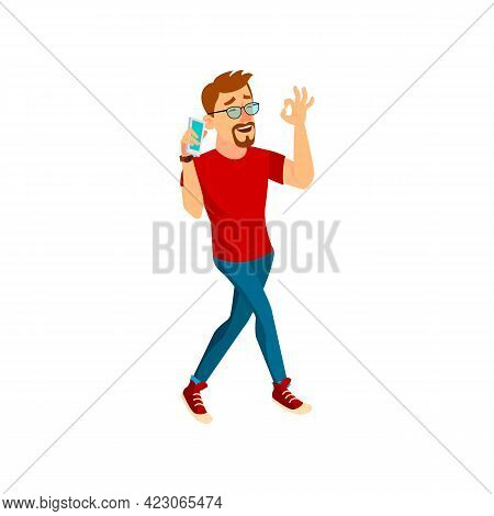 Happy Man Speaking With Friend On Phone And Approving Plan On Friday Evening Cartoon Vector. Happy M