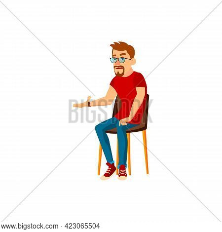Sad Man Talking With Colleagues In Meeting Room Cartoon Vector. Sad Man Talking With Colleagues In M