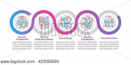 Branding Materials Vector Infographic Template. Branded Pens, Bags Presentation Outline Design Eleme