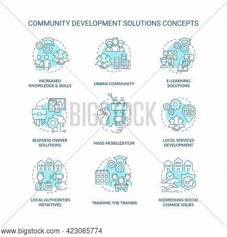 Community Development Solutions Concept Icons Set. Local Authorities Initiatives Idea Thin Line Colo