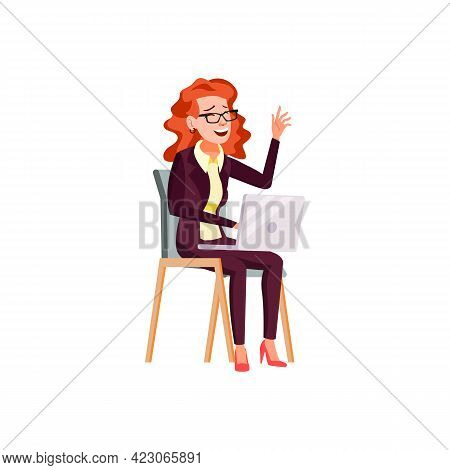 Woman In Elegant Clothes Laughing From Funny Picture On Laptop Cartoon Vector. Woman In Elegant Clot